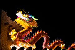 Dragon Lights Albuquerque, Dragon Lantern de seda uma arte tradicional chinesa comemora o ano novo chinês imagem de stock royalty free