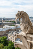 A dragon-Like Gargoyle on Notre Dame Cathedral Stock Images