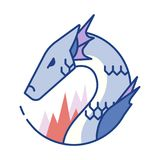 Dragon Line Color Icon vektor illustrationer