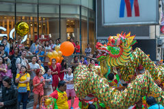 Dragon and lion dance Royalty Free Stock Images