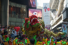Dragon and lion dance Royalty Free Stock Photography