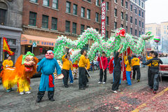 Dragon and Lion Dancers Chinese New Year Celebration Stock Image