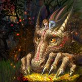 Dragon with the little girl on the mountain of treasures. A little girl sits on the head of a dragon who guards the treasures Royalty Free Stock Image
