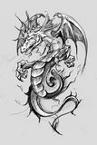 Dragon lizzard, Tattoo sketch, handmade design over vintage pape royalty free stock photos