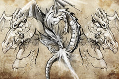 Dragon lizzard, Tattoo sketch Royalty Free Stock Photo