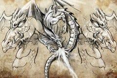 Dragon lizzard, Tattoo sketch Royalty Free Stock Photo