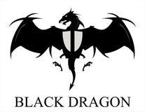 Dragon Logo Drake Svart drakespridning dess vingar royaltyfri illustrationer