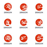 Dragon logo set, vector illustration. Stock Images