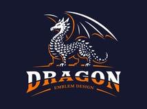 Dragon logo - vector illustration, emblem on dark background Stock Photos