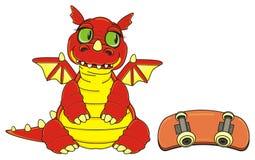 Dragon look at skateboard Royalty Free Stock Photo
