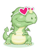 Dragon in love. Cartoon dragon in pink glasses isolated. Vector eps8 Royalty Free Stock Photos