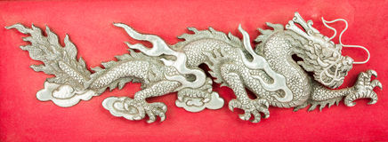 Dragon made ​​of steel plate Stock Images