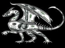 Dragon made from dollars. This is dragon is made of dollars. It has claws and spikes Royalty Free Stock Photos