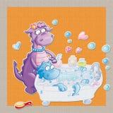 Dragon makes bath time, Mom washes Stock Photos