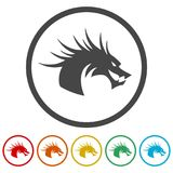 Dragon mascot, Black Silhouette Of Dragon, 6 Colors Included. Simple vector icons set Royalty Free Stock Image