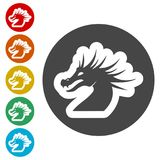 Dragon mascot, Black Silhouette Of Dragon. Simple  icons set Stock Images
