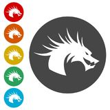 Dragon mascot, Black Silhouette Of Dragon. Simple vector icons set Royalty Free Stock Photo