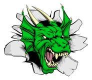 Dragon mascot breaking through wall Royalty Free Stock Image