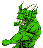 Dragon mascot fighting. A tough looking green dragon character mascot fighting and punching with fist Stock Photography