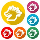 Dragon mascot icon, Silhouette Of Dragon, color icon with long shadow. Simple vector icons set Royalty Free Stock Image