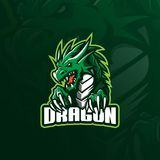 Dragon mascot logo design vector with modern illustration concept style for badge, emblem and tshirt printing. angry dragon vector illustration