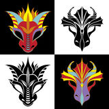 Dragon mask set. Fiery dragon symbol of the new year. Stencil and colored variant Royalty Free Stock Photography