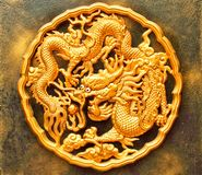 Dragon Medallion. Detail of a golden dragon medallion Royalty Free Stock Photo