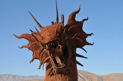 Dragon Metal Sculpture at Anza Borrego Desert California. Dragon metal sculptures in the Anza Borrego Desert. Sculptures are public art displayed over many acres royalty free stock image