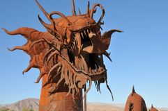 Dragon Metal Sculpture at Anza Borrego Desert California. Dragon metal sculptures in the Anza Borrego Desert. Sculptures are public art displayed over many acres stock images
