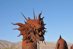 Dragon Metal Sculpture at Anza Borrego Desert California. Dragon metal sculptures in the Anza Borrego Desert. Sculptures are public art displayed over many acres royalty free stock photos