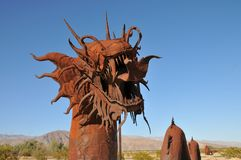 Dragon Metal Sculpture at Anza Borrego Desert California. Dragon metal sculptures in the Anza Borrego Desert. Sculptures are public art displayed over many acres stock photography