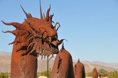 Dragon Metal Sculpture at Anza Borrego Desert California. Dragon metal sculptures in the Anza Borrego Desert. Sculptures are public art displayed over many acres stock photo