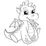 Dragon mignon de bande dessinée Illustration noire et blanche de vecteur pour livre de coloriage Image libre de droits