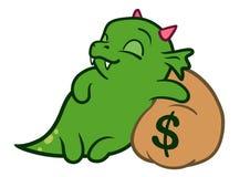 Dragon mignon de monstre de bande dessinée dormant sur le sac de l'argent Images stock