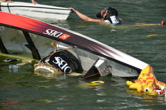 Dragon Mishap at DBS River Regatta 2013 Stock Photo
