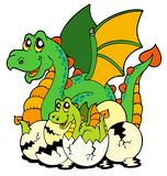 Dragon mom with baby and eggs Stock Images