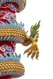 Dragon or monster paw. Golden dragon claw dragon foot statue on white background stock photo