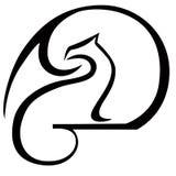 А dragon and moon logo. royalty free illustration