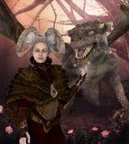 Dragon Mother Protector Queen med fantasifrisyren stock illustrationer