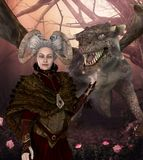 Dragon Mother Protector Queen mit Fantasie-Frisur stock abbildung