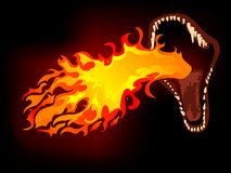 Dragon mouth. With the fire Stock Images