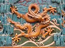 Dragon Mural 3. 3rd of 8 dragons on an ancient wall mural in China Royalty Free Stock Images