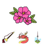Dragon with mustache, Seoul tower, national musical instrument, hibiscus flower. South Korea set collection icons in Stock Photography