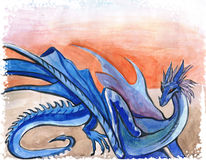 Dragon. The mystical character of a blue dragon, watercolor stock photography