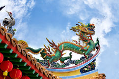Dragon mythological on the eave. Close up dragon mythological on the eave of a temple royalty free stock photos