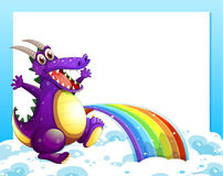 A dragon near the rainbow in front of the empty template Royalty Free Stock Photos