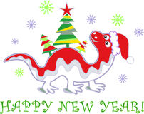 Dragon new year 2012. New Year Dragon with Christmas tree Stock Images