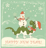 Dragon new year 2012. New Year card. Dragon with snow man Stock Photos