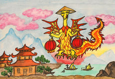 Dragon New Year comes to China stock image