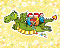 Dragon New Year Fly Child Present Stock Photo